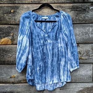 Beachlunchlounge Tie Dye Beaded Peasant Blouse